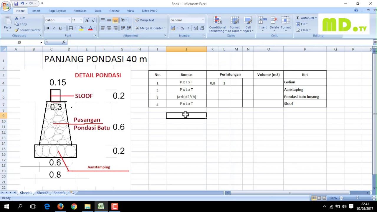 Menghitung Volume Pondasi Dengan Ms Excel Dalam Waktu 1 Menit Mudah Dan Cepat Youtube