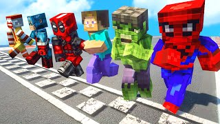 MINECRAFT RUNNING CHALLENGE | ALL SUPERHEROES Running  Competition Challenge#9 (Funny Contest)