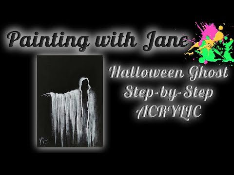 Spooky Halloween Ghost Step by Step Acrylic Painting on Canvas for Beginners