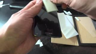 Samsung Galaxy Note 4 Tempered glass screen protector unboxing+installation