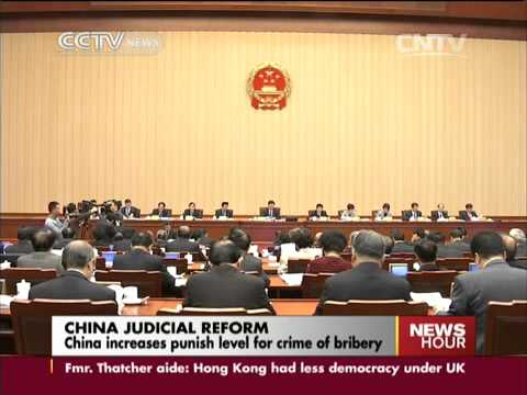 China increases punish level for crime of bribery