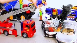 Пожарная машина Dickie Toys и Автовоз Daesung