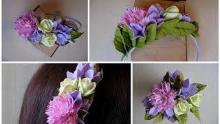 Обруч с цветами из фоамирана. Как собрать обруч с цветами из фоамирана.