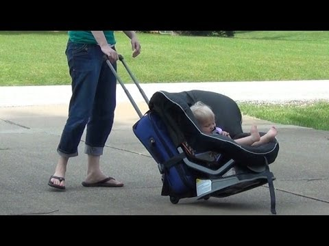 How to wheel 1 or 2 Car Seats around the Airport - YouTube