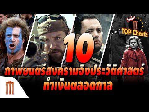 10 ภาพยนตร์ สงครามอิงประวัติศาสตร์ ทำเงินตลอดกาล  Major Top Charts EP.15