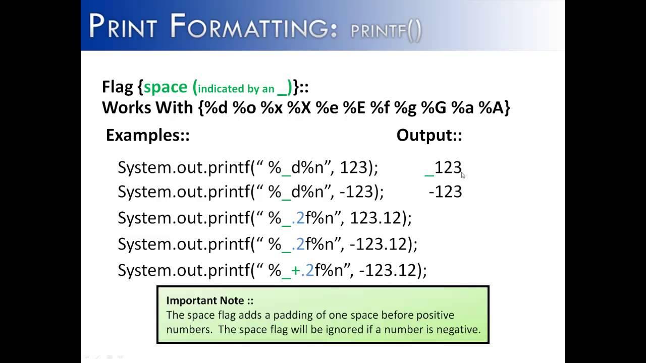 Print formatting part 7 printf flag space java youtube baditri Gallery