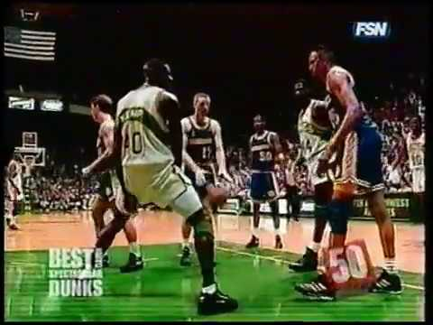 Shawn Kemp with the one-handed slam dunk plus the foul. Then gets a high-five from the defender.