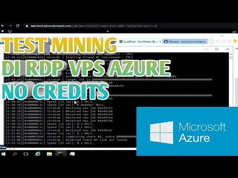 Mining Di RDP VPS Azure Gratis || 6CPU 12RAM || Mining BTC, Dogecoin, BTT DLL