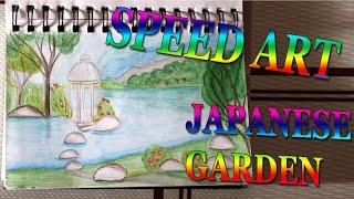 SPEED ART #005 Japanese garden Speed painting Speed drawing