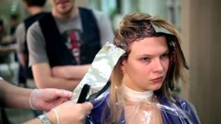 Зональное брондирование на русые волосы
