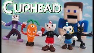 Cuphead Action Figure Bootleg Toys Funko Psycarrot w/ Plush diy song rap Unboxing Puppet Steve