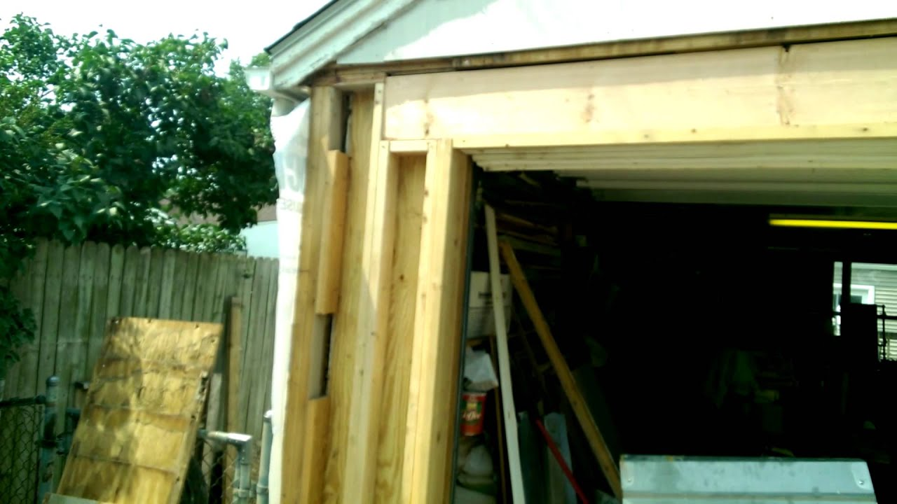 Garage Overhead Door Framing Rebuild Youtube