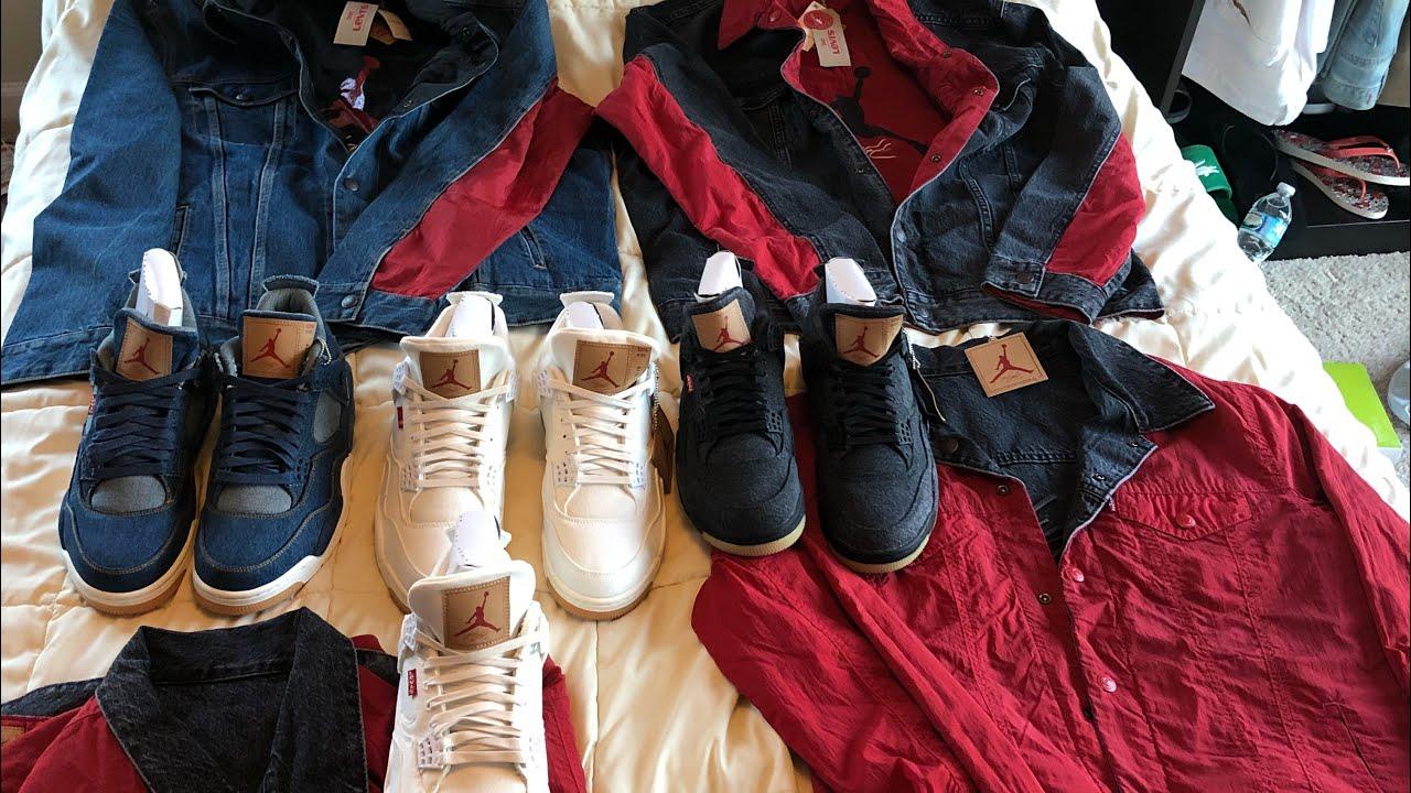 cheap for discount 22d32 9e6b0 All 3 Jordan 4 Levi collab and massive black & white Levi jacket & shoe  pickups