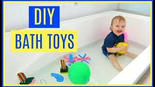 3 DIY BATH TOYS | HOW TO MAKE SPONGE BOMBS AND BOATS