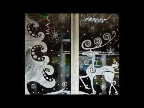 Новогодние окна идеи украшений Christmas decorations