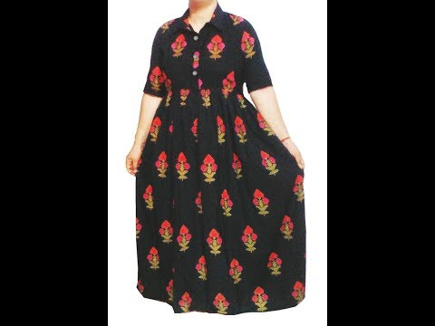Creative Long gown, Maxi, Elbow length sleeves dress cutting and stitching in hindi