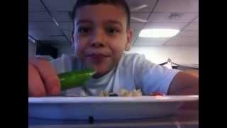 """Chuyito"" eating a JALAPEÑO / Niño Comiendo un JALAPEÑO"