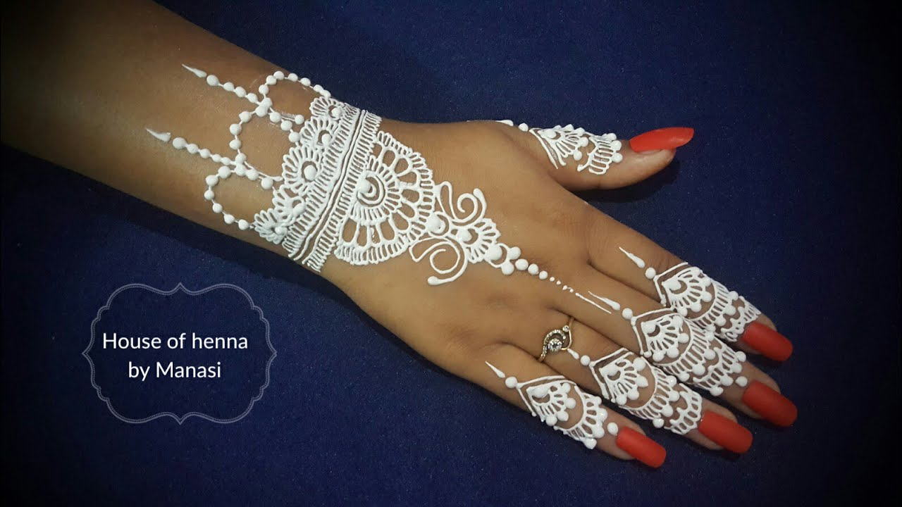 White Henna: Simple White Henna Design For Hand / White Henna Tattoo