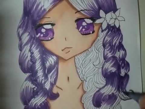 curly purple haired anime girl fairy