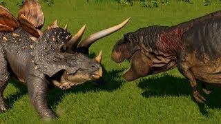 Stegoceratops vs T-Rex, Indominus Rex, Spinosaurus, Giganotosaurus & Allosaurus (1080p 60FPS)