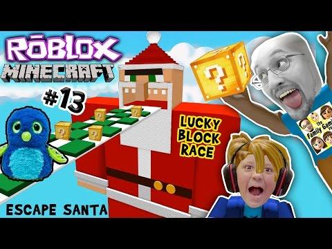 ESCAPE SANTA OBBY! Roblox #13 Minecraft Lucky Block Race Challenge Game! FGTEEV meets Hatchimals😱