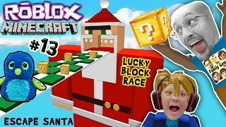 ESCAPE SANTA OBBY! Roblox #13 Minecraft Lucky Block Race Challenge Game! FGTEEV meets Hatchimals😱