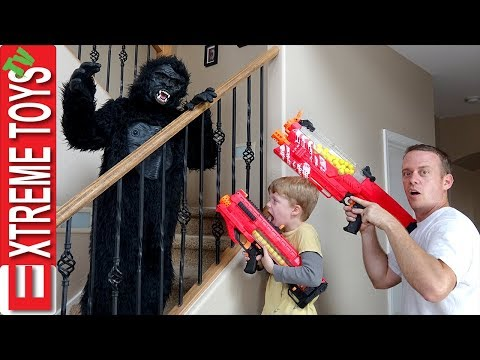 Thumbnail: The Prank Wars Part Four! Ethan Vs. Cole Nerf Blaster Gorilla Costume Attack Madness!