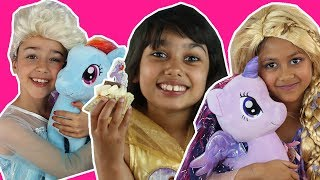 ELSA, BELLE AND RAPUNZEL HAVE MY LITTLE PONY TEA PARTY | Gaint Candy Haul | Princesses In Real Life