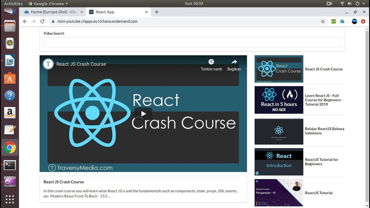 Download Deploy ReactJS Apps ** mini-Youtube ** on SAP Cloud Platform