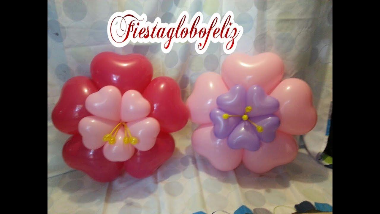 Como hacer una flor fantas a con globos de coraz n youtube - Hacer munecos con globos ...