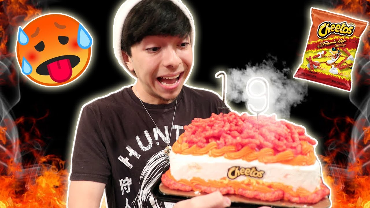 HOW TO MAKE A FLAMIN' HOT CHEETO CAKE | COOKING WITH SARAH GRACE & SANCHEZ SQUAD