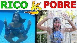 RICO VS POBRE NA PISCINA - Muita Diversão