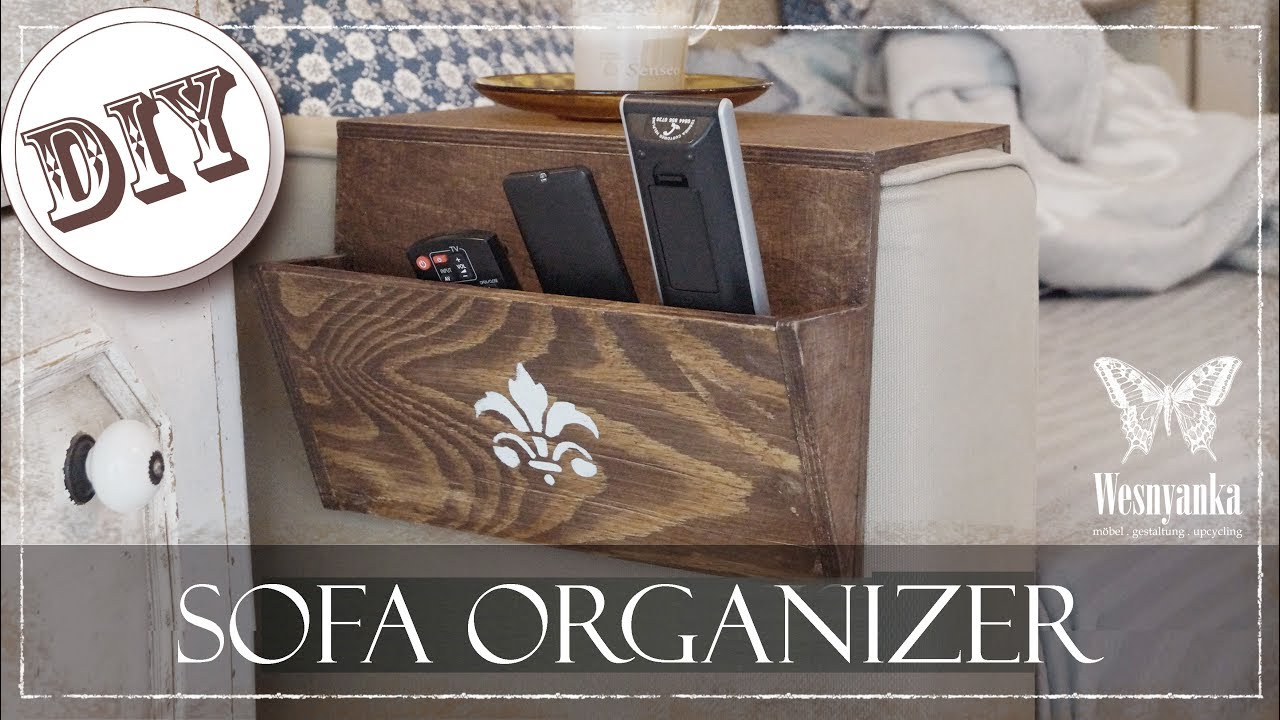 diy sofa organizer aus holz zum selber machen youtube. Black Bedroom Furniture Sets. Home Design Ideas