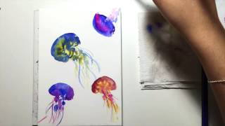 Watercolor Jellyfish Demonstration Part 1