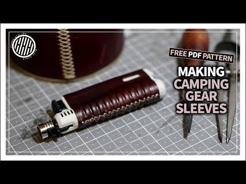 [Leather Craft]  Making camping gear sleeves / DIY / Free PDF pattern