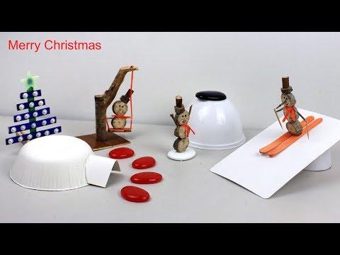 Christmas Miniature Wooden Snowman Garden DIY   Easy Craft Ideas