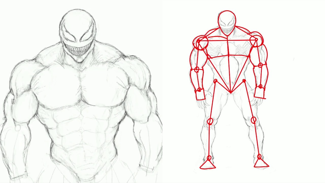 How to draw venom full body