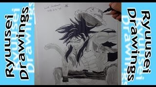 Dragon Ball e One Piece - Goku SSJ4 Fusion Monkey D. Luffy - Speed Art - Ryuusei Drawings