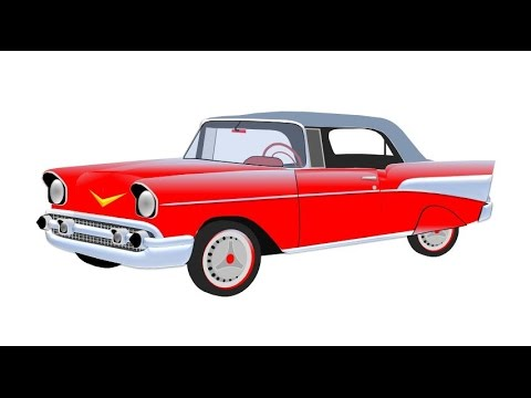 Draw a classic car using PowerPoint. Opel 1950s!