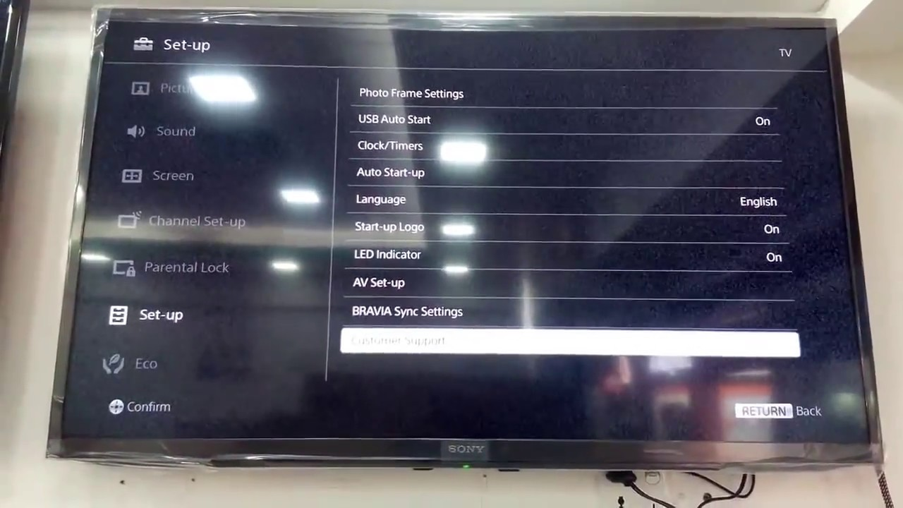 How to setup SONY BRAVIA R352D 40 INCH LED TV Remove demo screen demo mode  off