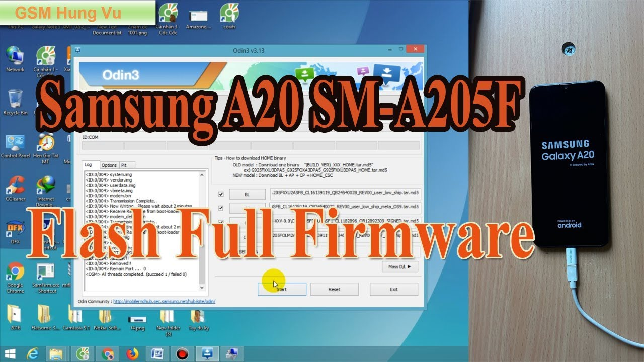 Flash Firmware Samsung A20 SM-A205F Android 9 0 by Odin 3 13 3