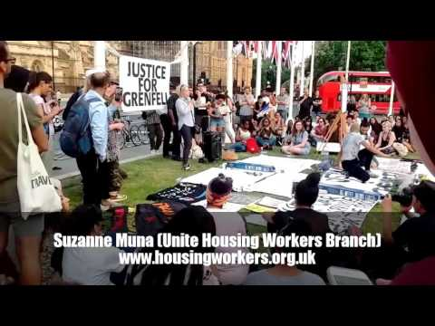 Suzanne Muna (Unite Housing Workers) at Grenfull Memorial