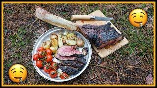 🔥 XXL Tomahawk Steak 🍲 draußen kochen - Outdoor Bushcraft Deutschland