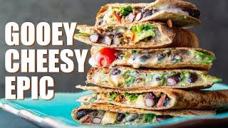 Easy CHEESY Quesadillas | Epic OIL FREE VEGAN RECIPE