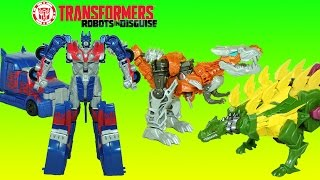Transformers Optimus Prime Grimlock & Snarl Power Attackers Dinobots Transform and Play