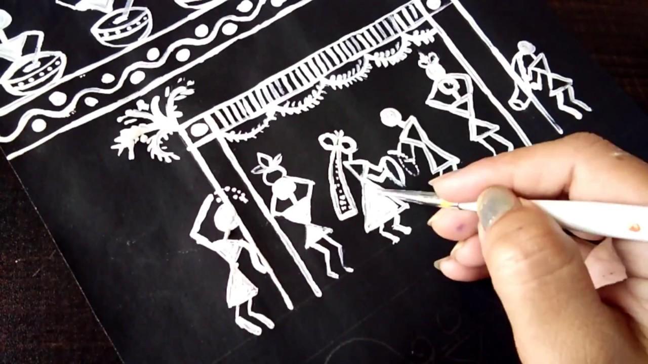 Diy How To Paint Warli Wall Decor Ideas Easy Home Decor Youtube