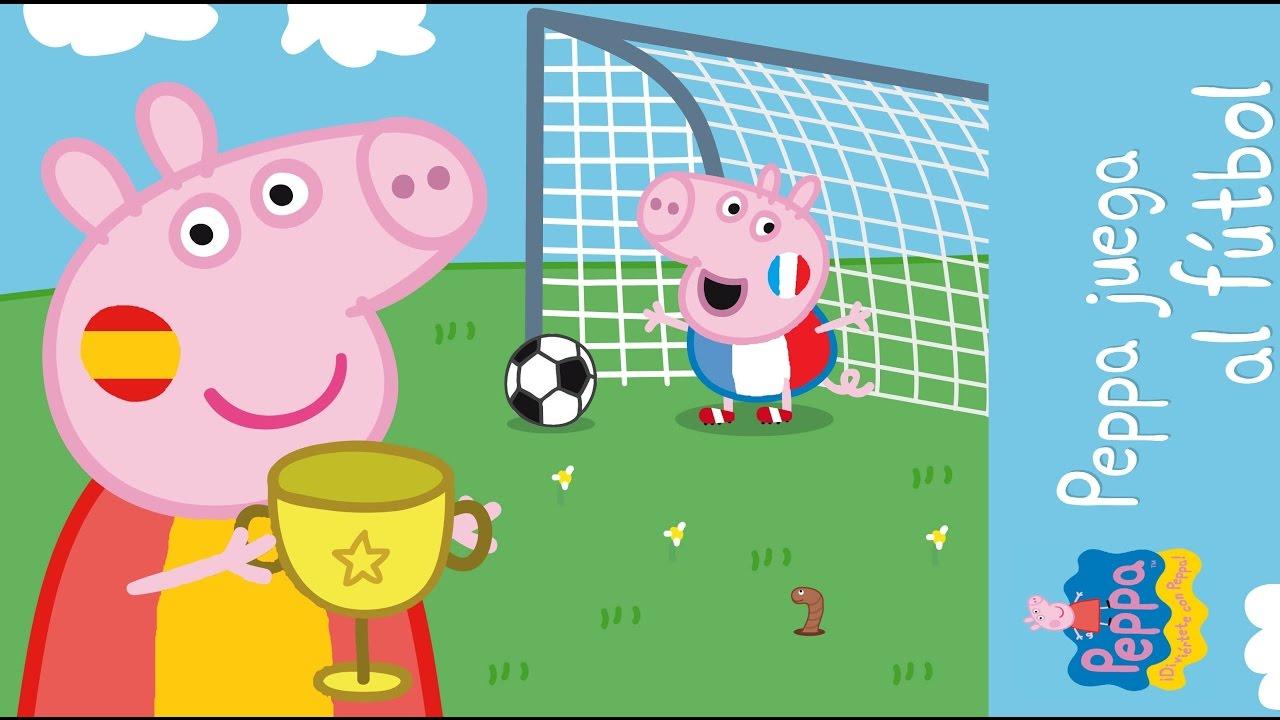 Peppa pig juega al futbol y a la piscina con pelotas for Peppa pig en la piscina