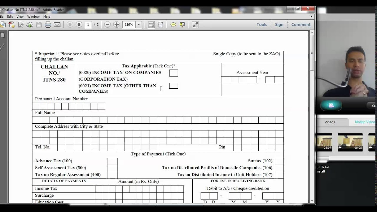 1084 (Tax Credit) How to fill Income tax Challan 280 for payment of demand  tax (Hindi)
