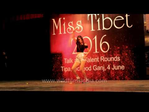 Tenzing Dickey dances at the talent round of Miss Tibet 2016
