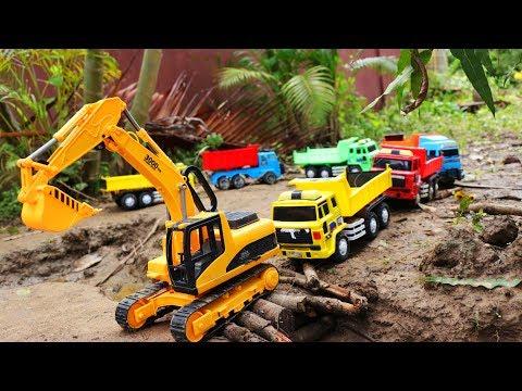 ขบวนรถก่อสร้าง รถตักดิน รถแม็คโคร รถดั้ม ตักทรายบรรทุกทราย Backhoe for kids, Excavator